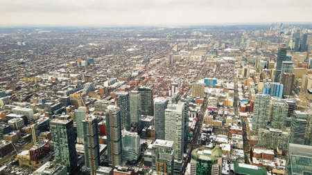 High aerial view over looking the city of Toronto, Canada Stock Photo