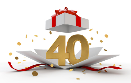 Happy 40th birthday gold surprise boxwith red ribbon. 3D Rendering