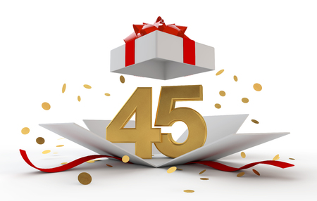Happy 45th birthday gold surprise boxwith red ribbon. 3D Rendering