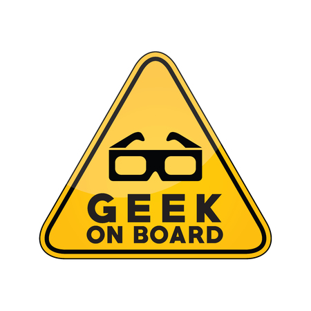 Geek on board yellow car window warning sign