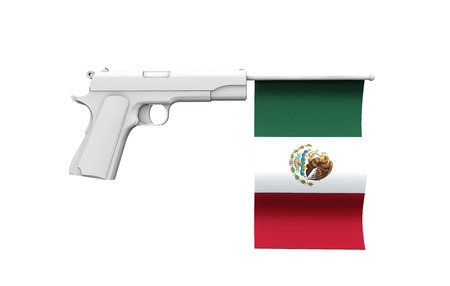 Mexico gun control concept. Hand gun with national flag Stock Photo