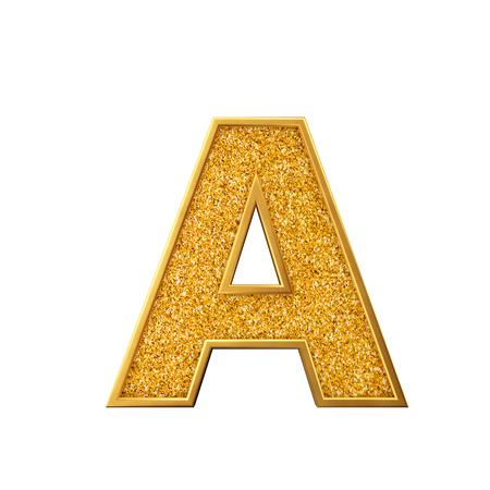 Lettre de paillettes d'or A. Lettre majuscule dorée étincelante brillante. rendu 3D