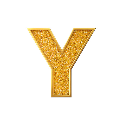 Gold glitter letter Y. Shiny sparkling golden capital letter. 3D rendering