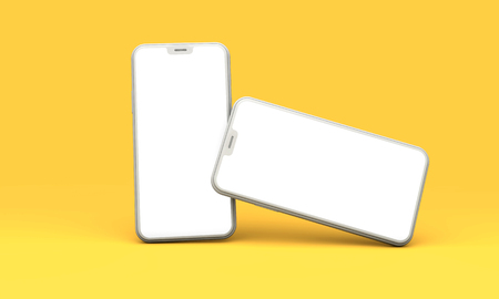Smartphone mockup with blank white screen on a yellow background. 3D Render