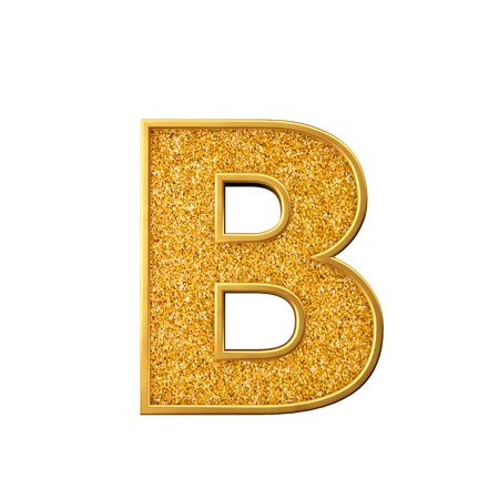 Gold glitter letter B. Shiny sparkling golden capital letter. 3D rendering