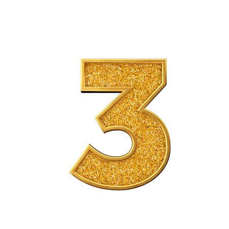 Złoty brokat numer 3. Błyszczący musujący złoty numer. renderowanie 3D