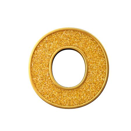 Gold glitter letter O. Shiny sparkling golden capital letter. 3D rendering Banco de Imagens