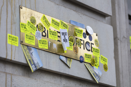 LONDON, UK - March 23, 2019: The Government Cabinet Office covered in Anti Brexit stickers at the Anti Brexit peoples vote march
