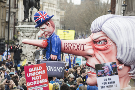 LONDON, UK - March 23rd, 2019: A political satire sculpture of Theresa May made by artist Jacques Tilly at the Put it to the People March in London