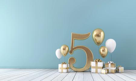 Sala de celebración de fiestas número 5 con globos dorados y blancos y cajas de regalo.
