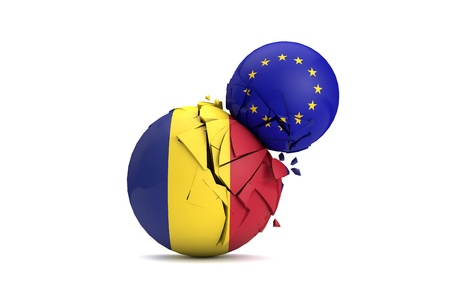 Romania and European Union political balls smash together. 3D Render