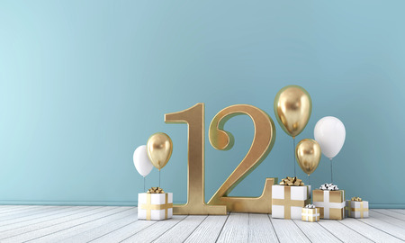 Number 12 party celebration room with gold and white balloons and gift boxes. Stockfoto
