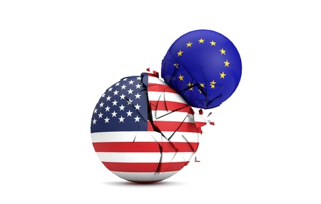 USA and European Union political balls smash together. 3D Render