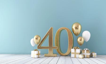 금색과 흰색 풍선과 선물 상자가 있는 40번 파티 축하 방.