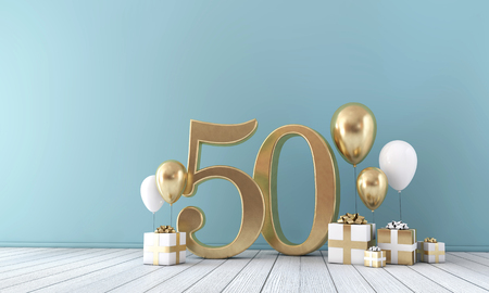 Number 50 party celebration room with gold and white balloons and gift boxes. Фото со стока