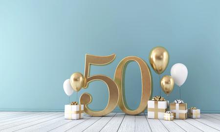 Party-Feierraum Nummer 50 mit goldenen und weißen Ballons und Geschenkboxen.