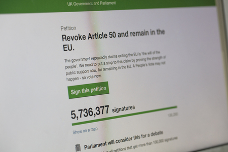 LONDON, UK - March 26th 2019:  Online petition to revoke article 50 and reconsider brexit has over 5 million signatures