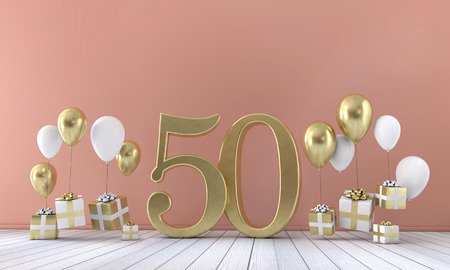 Number 50 birthday party composition with balloons and gift boxes. 3D Rendering Foto de archivo