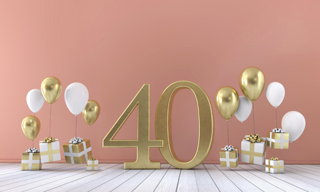 Number 40 birthday party composition with balloons and gift boxes. 3D Rendering