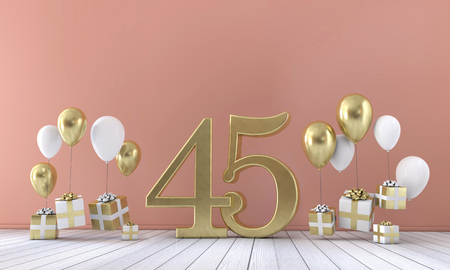 Number 45 birthday party composition with balloons and gift boxes. 3D Rendering