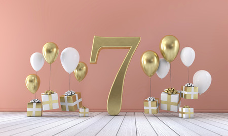 Number 7 birthday party composition with balloons and gift boxes. 3D Rendering Stock Photo