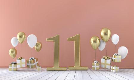 Nummer 11 Geburtstagsparty Komposition mit Ballons und Geschenkboxen. 3D-Rendering Standard-Bild