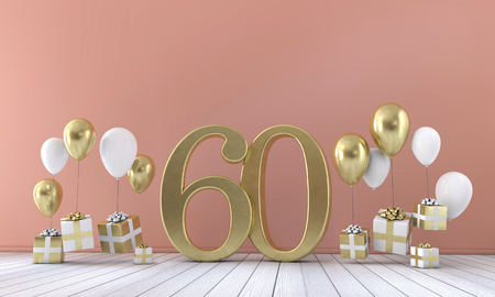 Number 60 birthday party composition with balloons and gift boxes. 3D Rendering