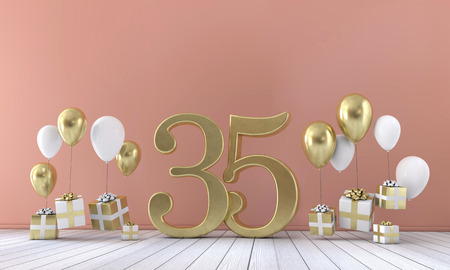 Number 35 birthday party composition with balloons and gift boxes. 3D Rendering Imagens