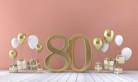 Number 80 birthday party composition with balloons and gift boxes. 3D Rendering Stock Photo