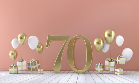 Number 70 birthday party composition with balloons and gift boxes. 3D Rendering Foto de archivo