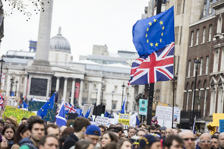 LONDON, UK - March 23rd 2019: Crowds of anti brexit supporters on a Peoples vote political march in London 報道画像