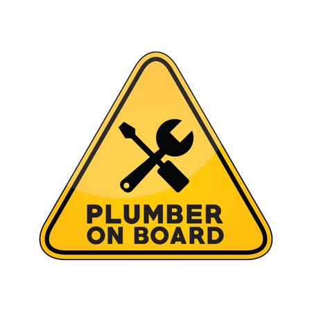 Plumber on board yellow car window warning sign