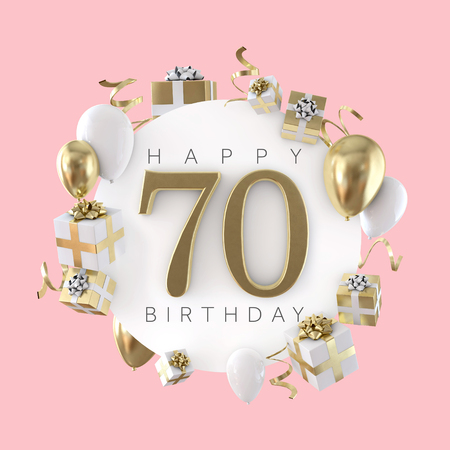 Happy 70th birthday party composition with balloons and presents. 3D Render Stock Photo