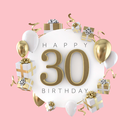 Happy 30th birthday party composition with balloons and presents. 3D Render Stock Photo