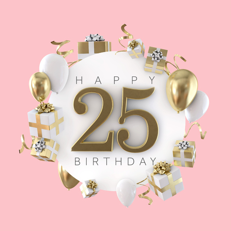 Happy 25th Birthday Party Composition With Balloons And Presents 3D Render Stock Photo