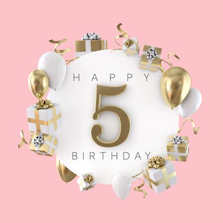 Composition de fête de joyeux 5e anniversaire avec des ballons et des cadeaux. Rendu 3D