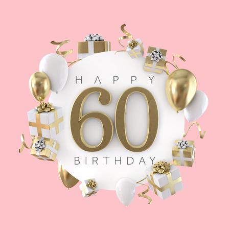 Gelukkig 60e verjaardagsfeestje samenstelling met ballonnen en cadeautjes. 3D-weergave