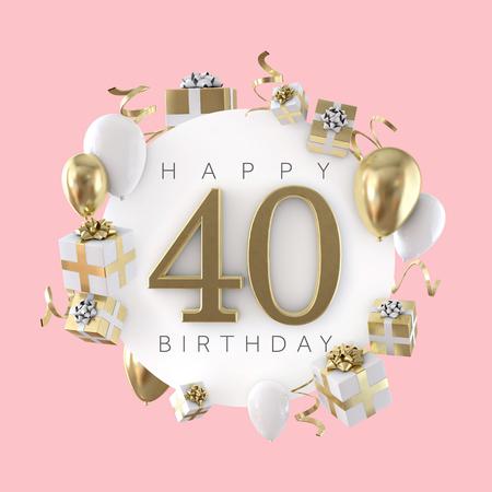 풍선과 선물로 행복한 40번째 생일 파티 구성. 3D 렌더 스톡 콘텐츠
