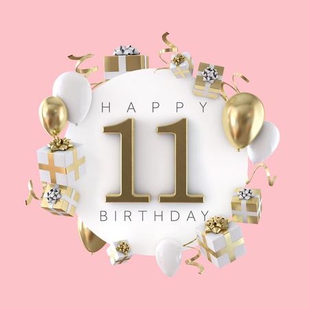 Happy 11. Geburtstagsparty Komposition mit Ballons und Geschenken. 3D-Rendering
