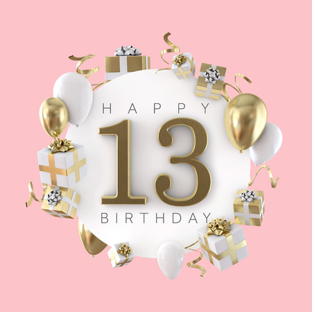 Happy 13th Birthday Party Composition With Balloons And Presents 3D Render Stock Photo