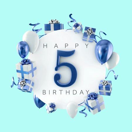 Composition de fête de joyeux 5e anniversaire avec des ballons et des cadeaux. Rendu 3D Banque d'images