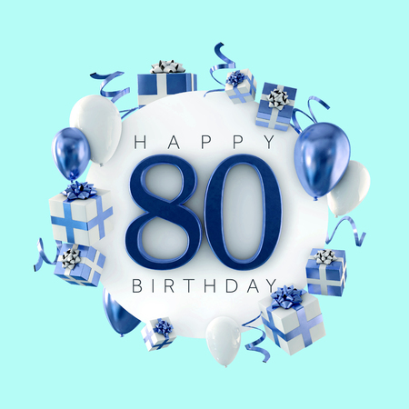 Happy 80th birthday party composition with balloons and presents. 3D Render