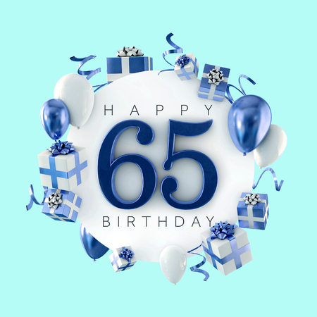 Happy 65th birthday party composition with balloons and presents. 3D Render