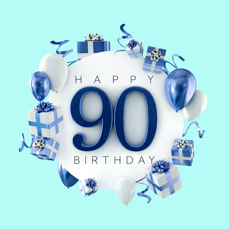 Happy 90th birthday party composition with balloons and presents. 3D Render Foto de archivo