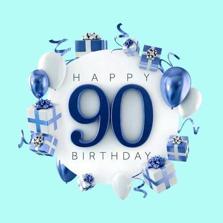 Gelukkige 90ste verjaardagsfeestje samenstelling met ballonnen en cadeautjes. 3D-weergave