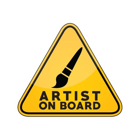 Artista a bordo del cartello di avvertimento giallo sul finestrino dell'auto Vettoriali