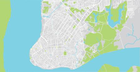 Urban vector city map of Belem, Brazil