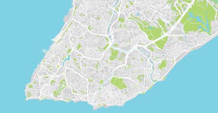 Urban vector city map of Salvador, Brazil Vektoros illusztráció