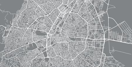 Urban vector city map of Konya, Turkey