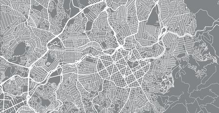 Urban vector city map of Belo Horizonte, Brazil